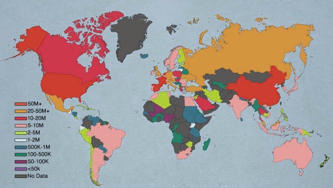 Самые часто посещаемые страны