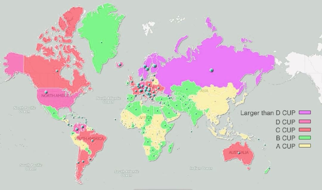 Размеры лифчиков в мире