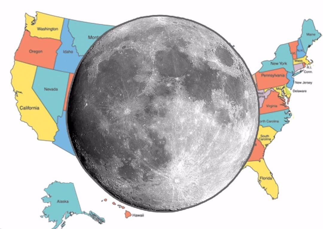 Сравнение размеров Луны и США