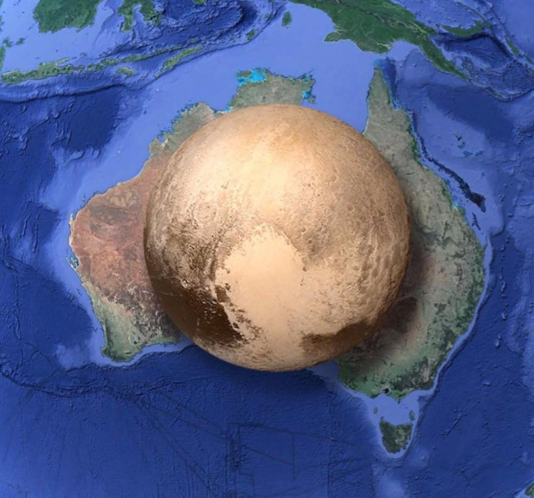 Сравнение размеров Плутона и Австралии